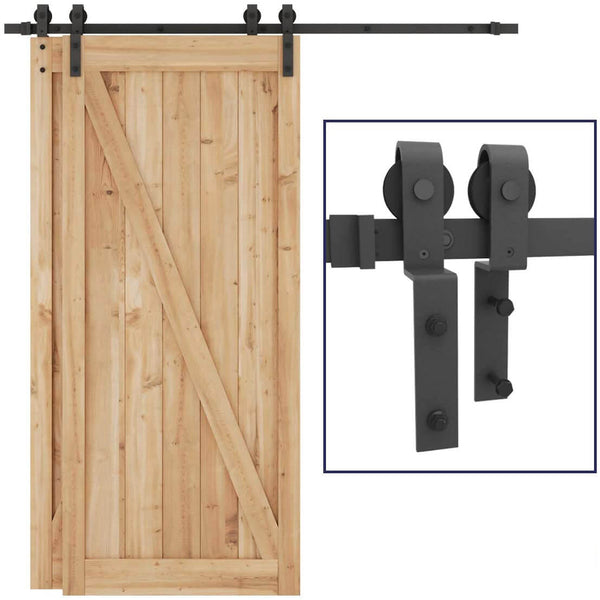 Bypass Sliding Barn Door Hardware One-Piece Flat Track for Double Wooden Doors 5-8 FT