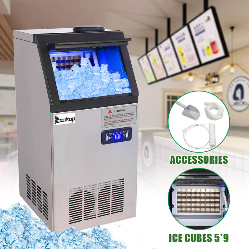 68KG/24H Refrigerator Stainless Steel Transparent Cover Commercial Ice Machine