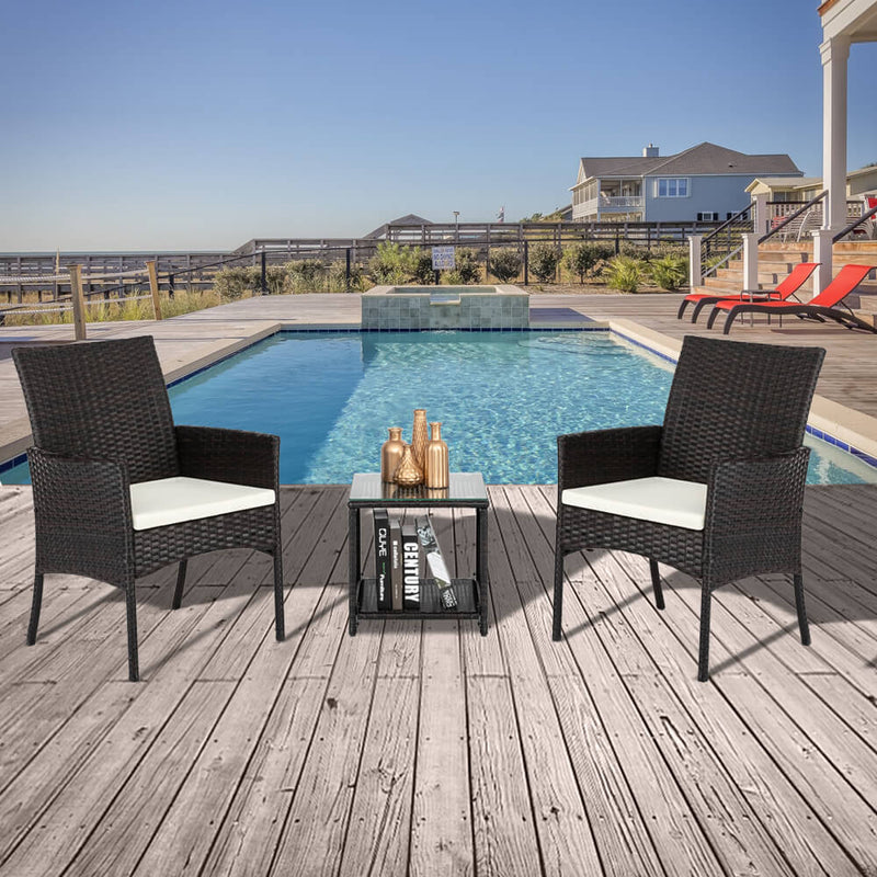 3Pcs Wicker Patio Chairs Sectional Dining Furniture Set, PE Rattan Sofa Conversation Set with Cushions & Tempered Glass Tabletop