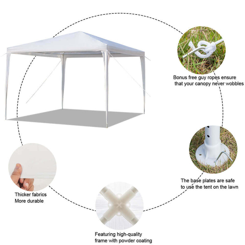 Homhum Waterproof Canopy Tent 10 x 10 ft Tents with Spiral Tubes White