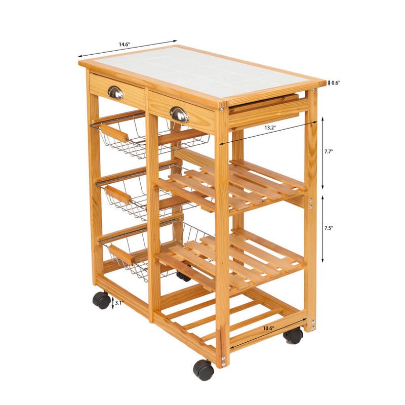 Kitchen & Dining Room Cart 2-Drawer Removable Storage Rack with Rolling Wheels Wood Color