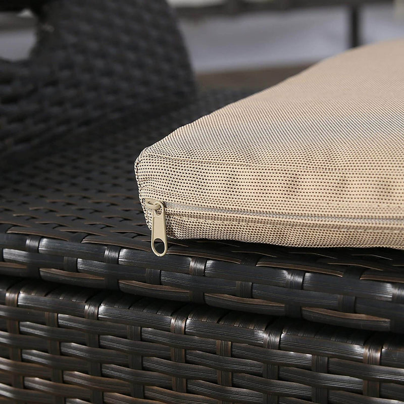 Outdoor Storage Bench with Wing Handles, Rattan Style Deck Box with Beige Cushion