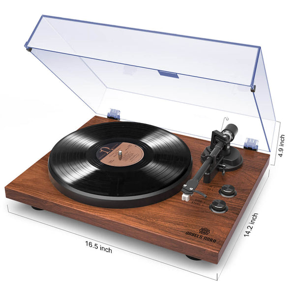 Record Player Stereo Built-in 2-Speed Phono Preamp and Belt Drive Brown