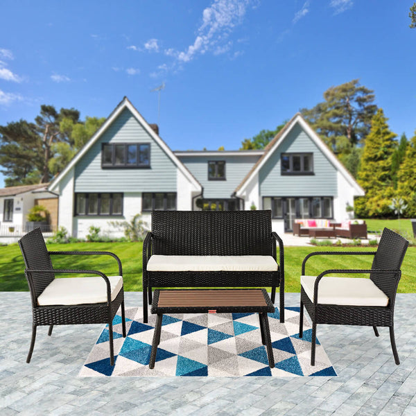 4 Pieces Outdoor Sectional Furniture Set, Patio Rattan Wicker Chair, Black