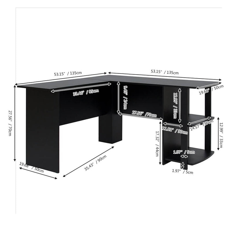 L-Shaped Computer Desk with Two-layer Bookshelves Black