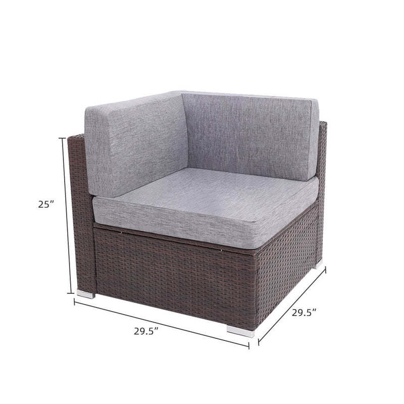 4 Pieces Patio PE Wicker Rattan Corner Sofa Set With Table