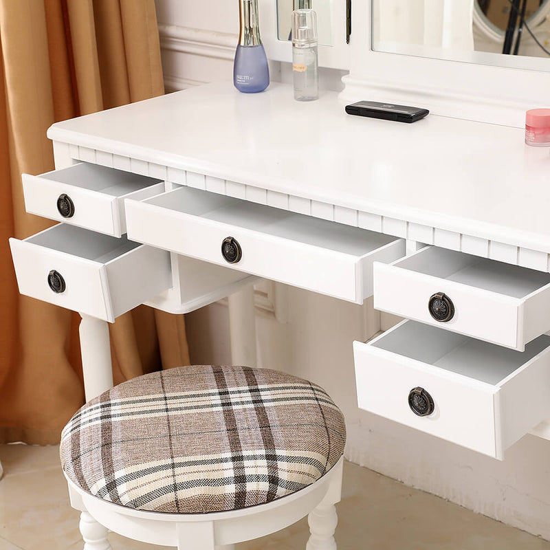 Dresser Three-Fold Square Mirror Drawers Roman Column Table/Stool White