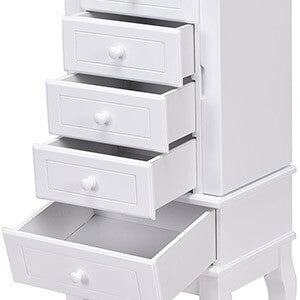 Jewelry Cabinet Armoire with 5 Drawers Storage Chest Stand Removable White