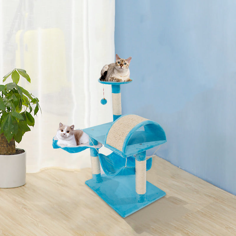 Stable Cute Sisal Cat Climb Holder Cat Tower Lamb Blue 32 inches