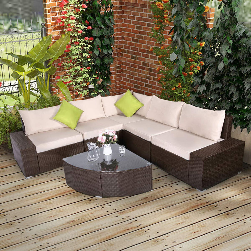 6 Pcs Patio PE Rattan Wicker Sofa Set Outdoor Sectional Furniture Chair Set with Cushions and Tea Table, Brown