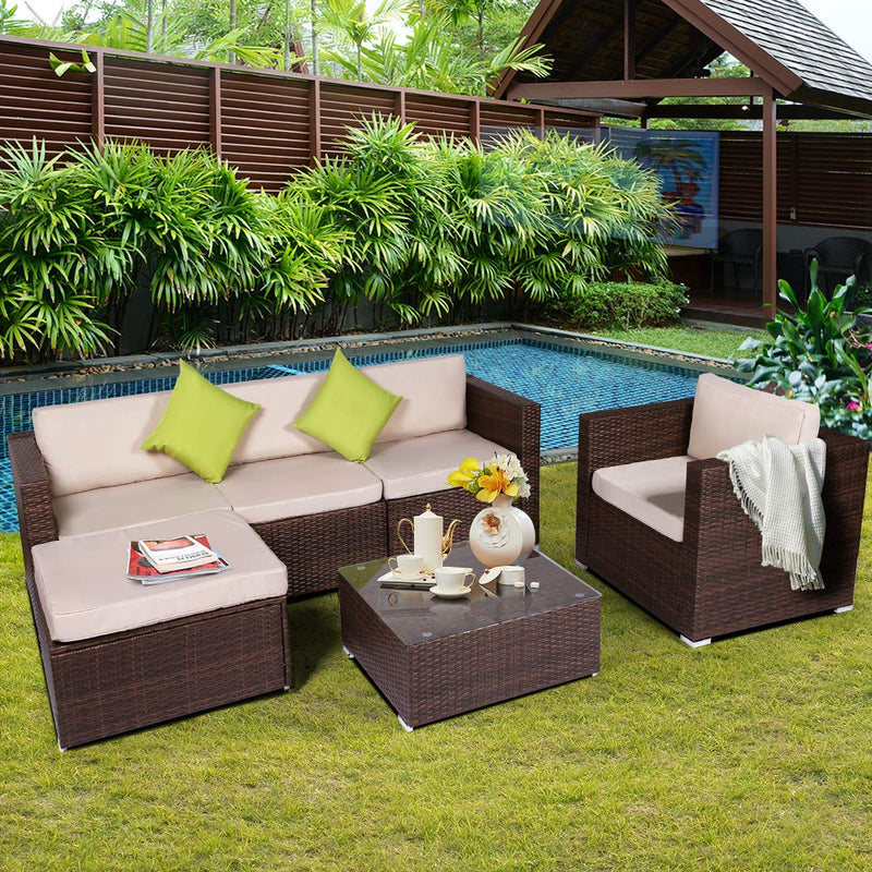 6 Pieces Patio PE Rattan Wicker Sofa Set Outdoor Sectional Furniture Conversation Chair Set with Ottoman Cushions and Tea Table Brown