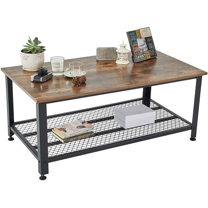Industrial Coffee Table, 2 Tier Cocktail Table, Metal Frame Living Room Sofa Table, Easy Assembly, Rustic Brown