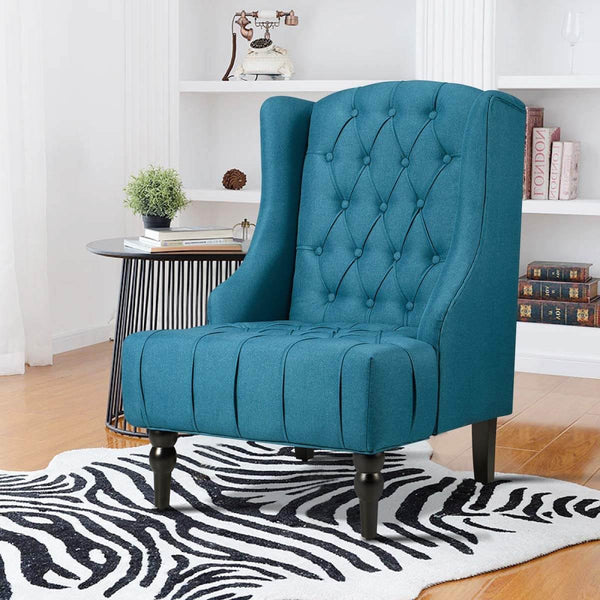 High-Back Fabric Club Chair, Wingback Chair, Modern Accent Chair for Living Room, Bedroom, Green