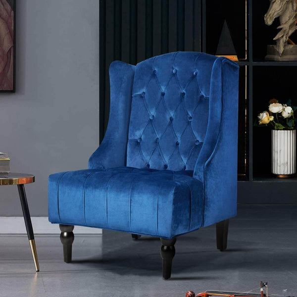 High-Back Velvet Club Chair, Wingback Chair, Modern Accent Chair for Living Room, Bedroom, Blue