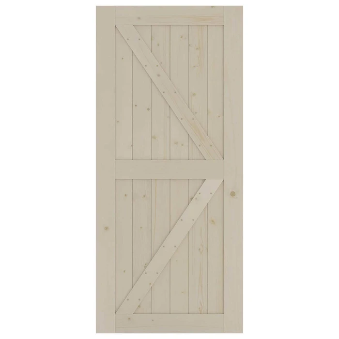 Sliding Barn Wood Door Slab Pre-Drilled Unfinished Natural Color Spruce Wood