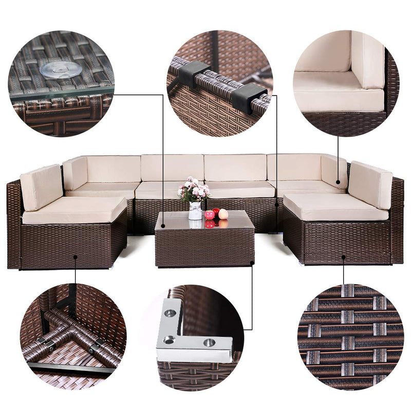7 Piece Outdoor Patio Furniture Set, PE Rattan Wicker Sofa Set, Outdoor Sectional Furniture Chair Set with Cushions and Tea Table, Brown