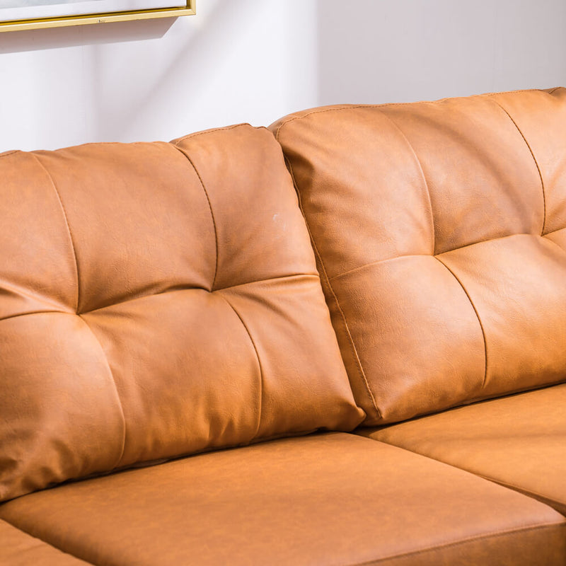 Convertible Sectional Sofa Couch, L-Shaped Couch with Modern PU Leather for Small Space, Light Brown