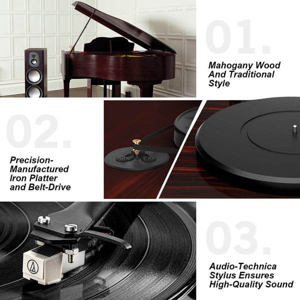 Bluetooth Turntable Stereo Record Player with Built-in 2-Speed Phono Preamp Black