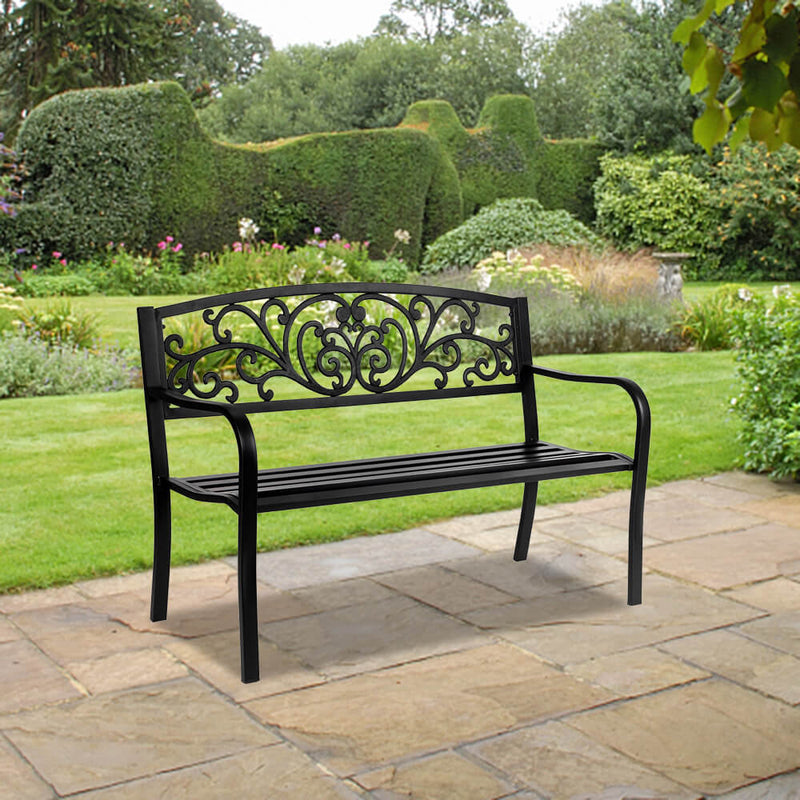 Iron Outdoor Courtyard Decoration Park Leisure Bench 50 inches