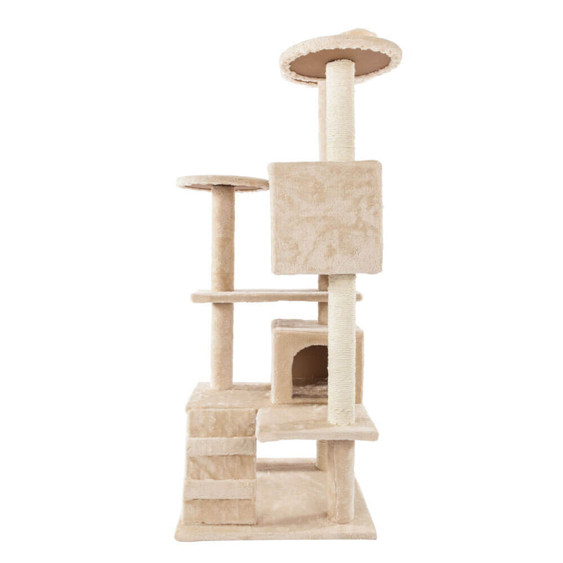 Solid Cute Sisal Rope Plush Cat Climb Tree Cat Tower Beige 52 inches
