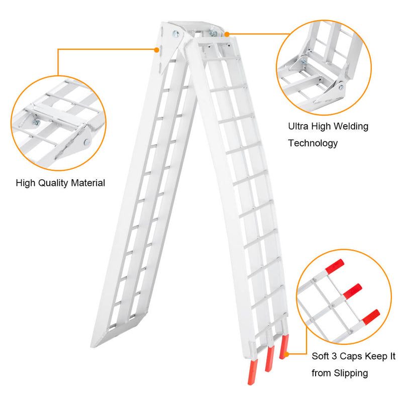 7.5ft Aluminum Foldable Motor Vehicle Loading Ramps 1 pc