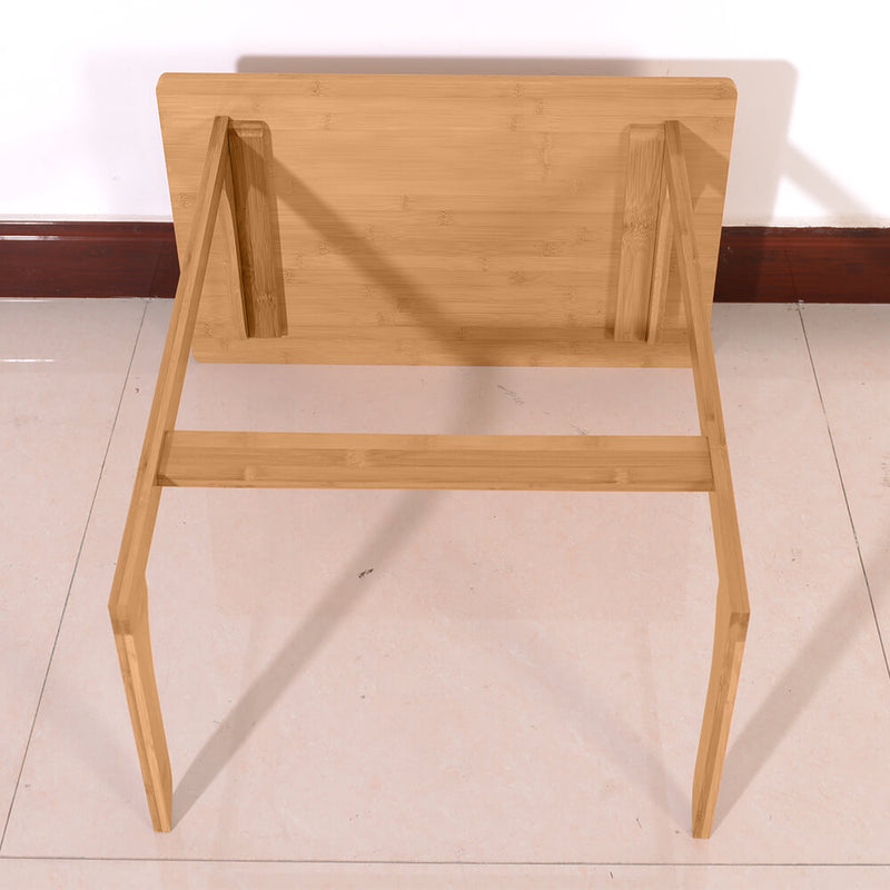 23.6 x 15.7 x25.6 inches L-shaped Bamboo Sofa Side Table Sandal Wood Color