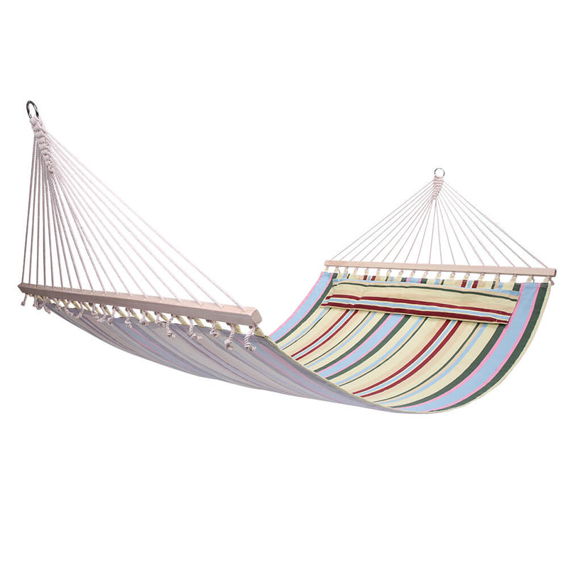2 Person Double Hammock Bed with Wood Spreader Bar, Portable Patio Swing Hammocks (Beige)