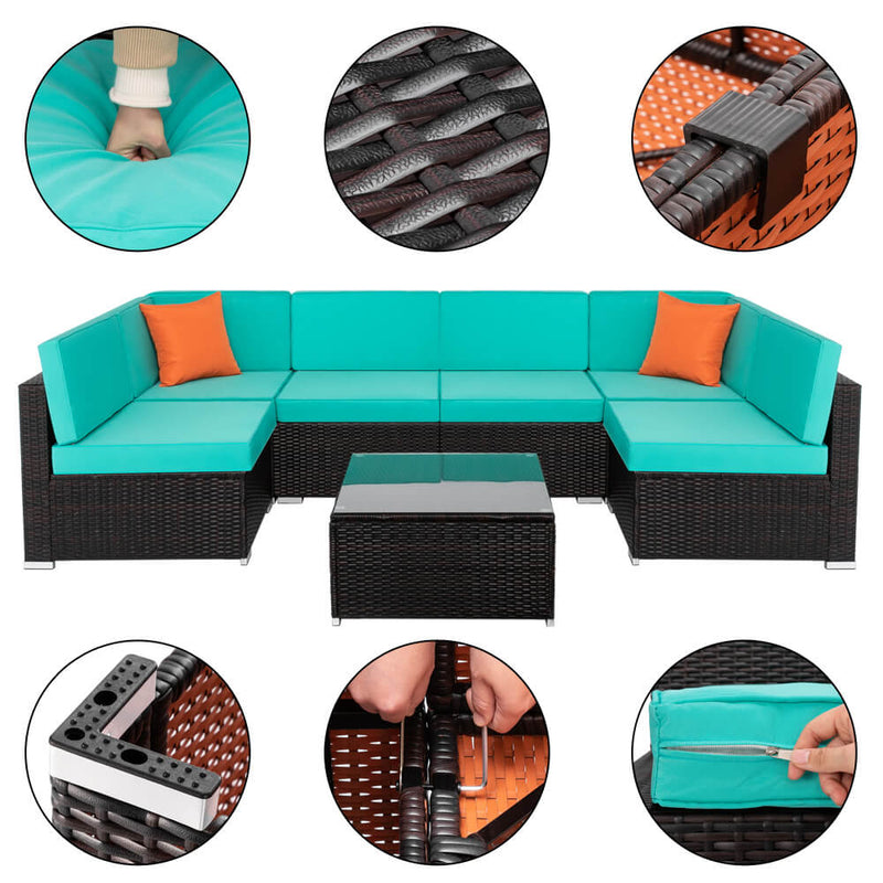 7 Piece Patio Rattan Sectional Sofa Set Outdoor Furniture