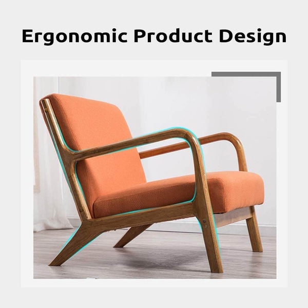 Lounge Arm Chair Mid Century Modern Accent Chair Wood Frame Armchair, Orange