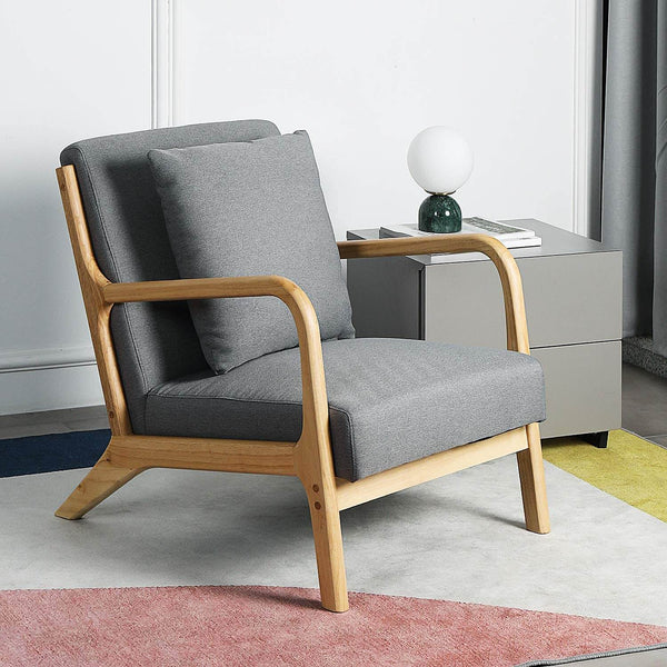 Lounge Arm Chair Mid Century Modern Accent Chair Wood Frame Armchair, Gray