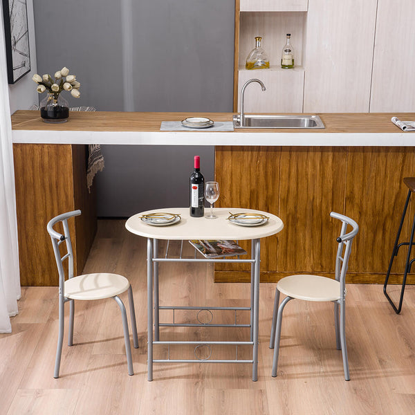 PVC Breakfast Table (One Table and Two Chairs) Natural