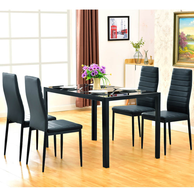Simple Assembled Tempered Glass & Iron Dinner Table Black