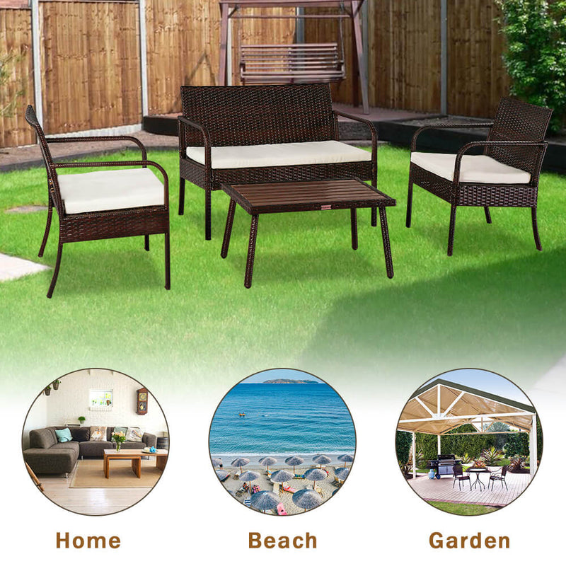 4 Pieces Patio Rattan Wicker Chair, Outdoor Sectional Furniture Set, Brown