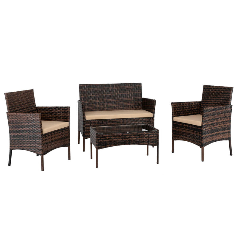 4 Pieces Outdoor Conversation Set Patio Dining Set Rattan Sofa Set Brown Gradient