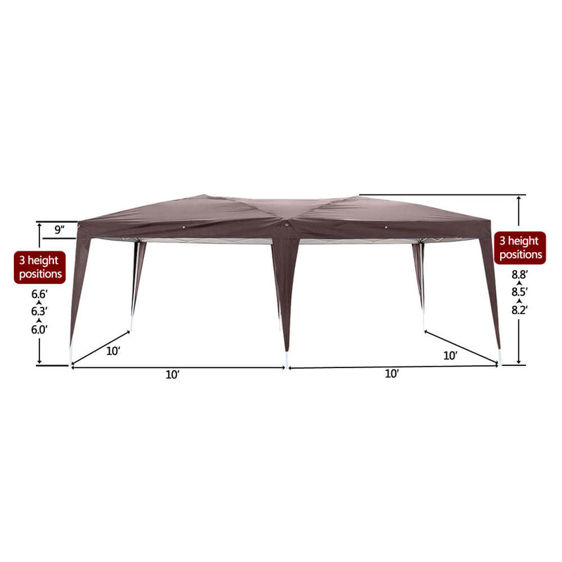 Homhum Waterproof Foldable Canopy Tent 10 x 20ft with Carry Bag for Party Camping, Dark Coffee