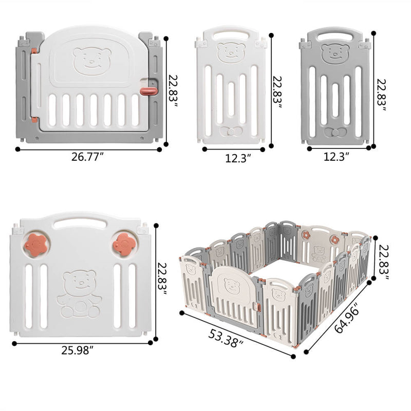 Baby 16 Panel Playpen Activity Centre Indoor Outdoor Playards Fence Safety Play Yard