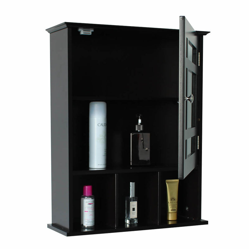 Single Door Three Compartment Storage Bathroom Cabinet brown