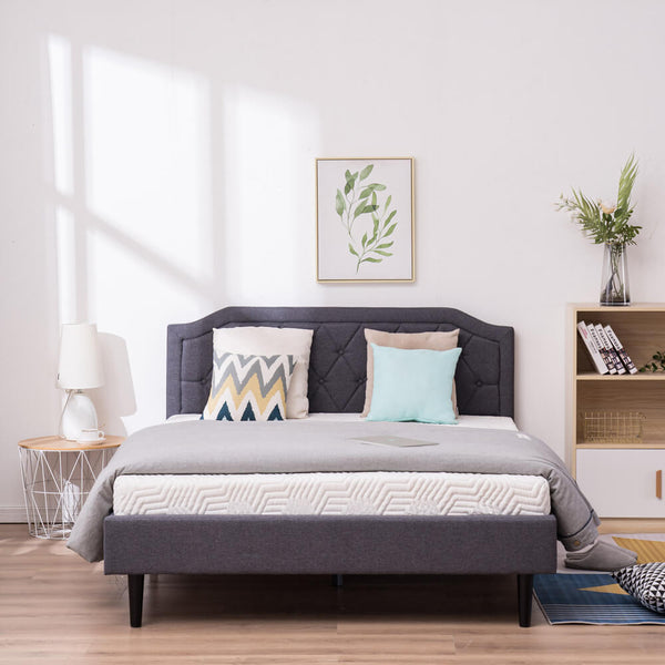 Upholstered Platform Bed Frame with Diamond Buckle Decoration In Gray, Queen