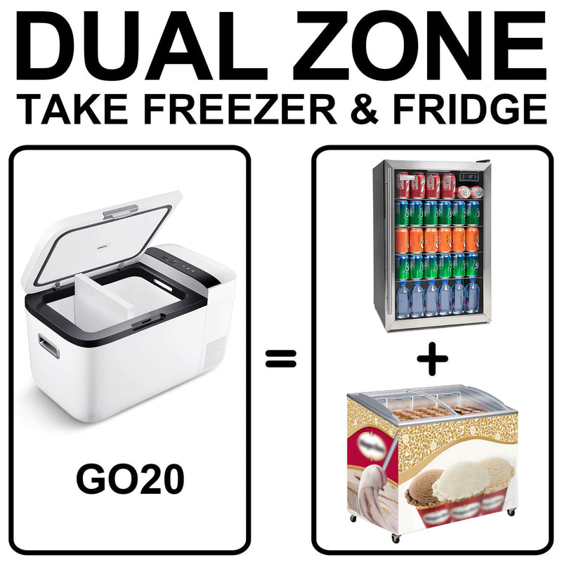 12V Dual Zone Portable Refrigerator Mini Fridge for Outdoor, Home Use White