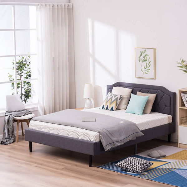 Upholstered Platform Bed Frame with Diamond Buckle Decoration In Gray, Full