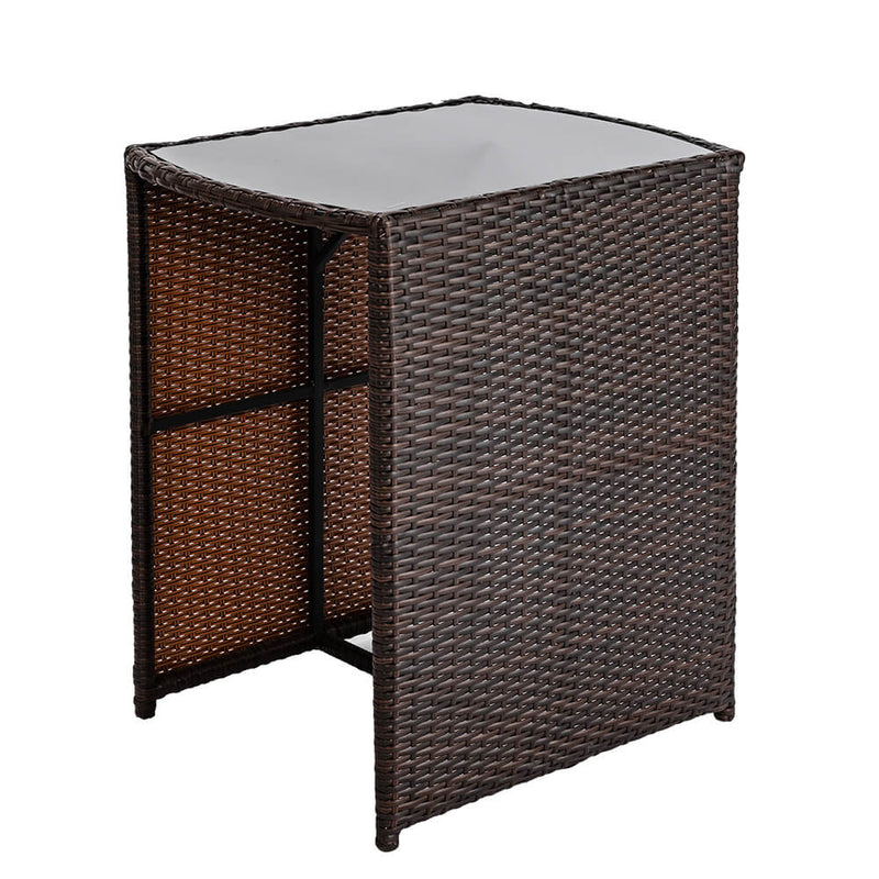 3 Pieces Rattan Wicker Bistro Set with Glass Top Table 2 Chairs Space Saving Design Brown