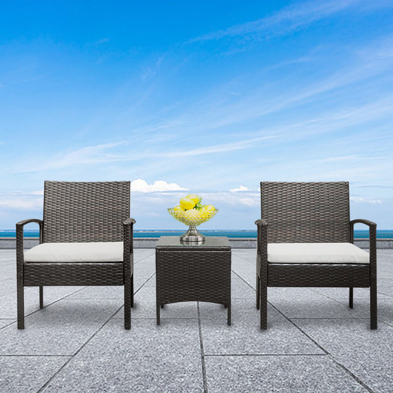 3-Piece Wicker Patio Dining Furniture Set, Rattan Sofa Conversation Set, Arm Chairs Coffee Table with Cushions & Tempered Glass Tabletop