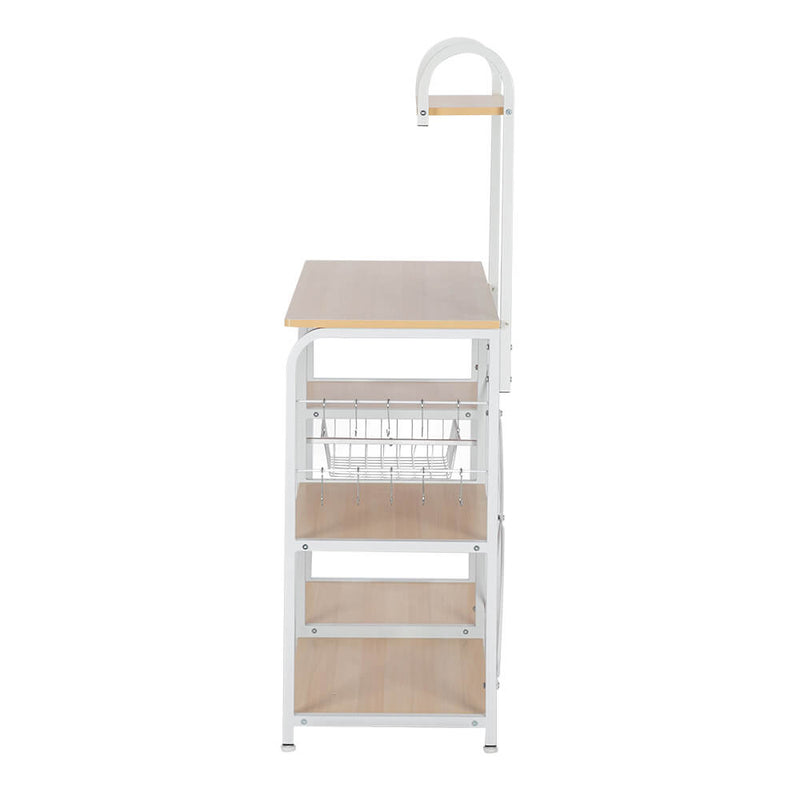 Utility Storage Shelf 35.5 inches Microwave Stand with 10 Hooks