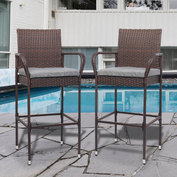 2 Pieces Rattan Bar Chair Patio Stool With Cushion Brown