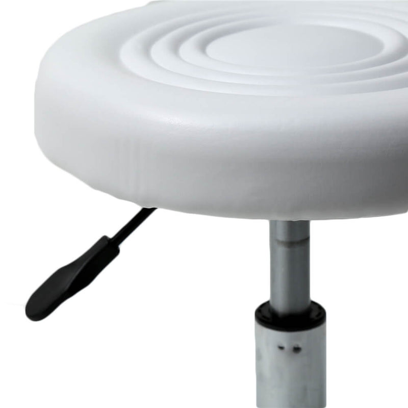 Round Stool with Lines Rotation Bar Stool White