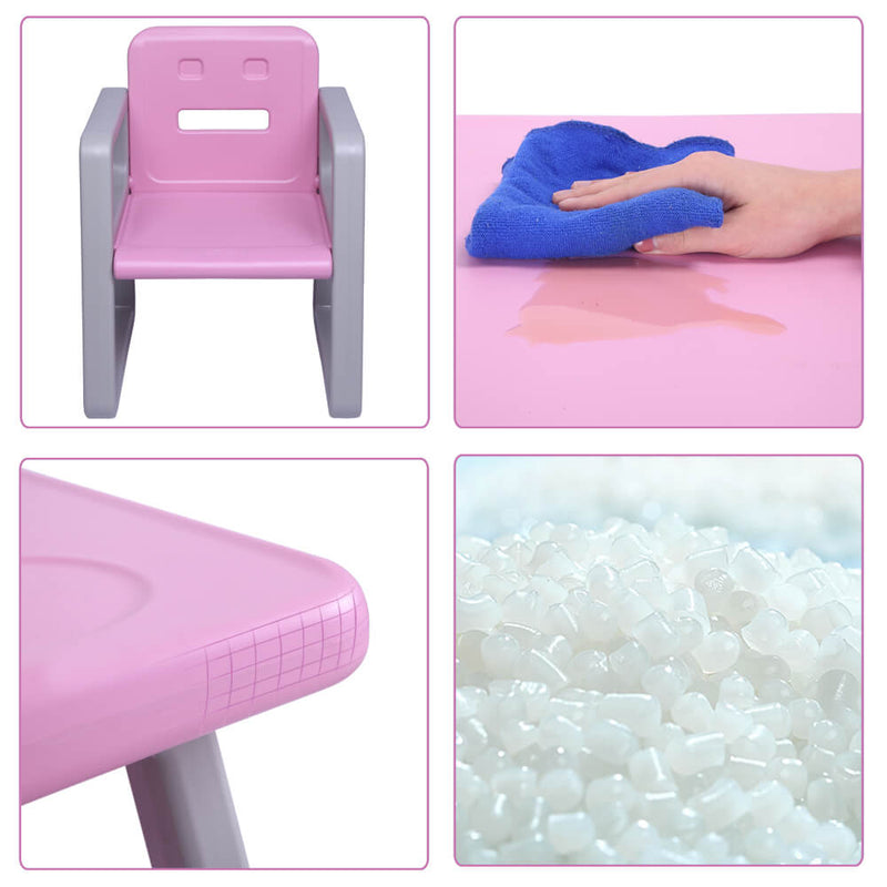 Multipurpose Kids 3-Pieces Table and Chair Set Certified Safe and Easy Clean Pink
