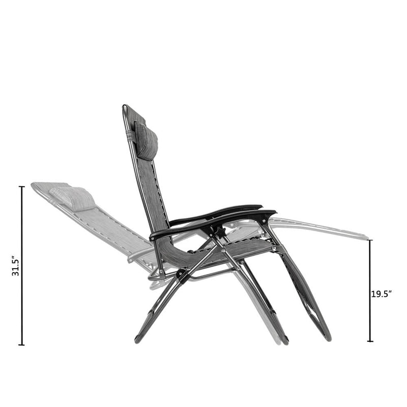 2 Pieces Zero Gravity Lounge Chair with Portable Cup Holder Table