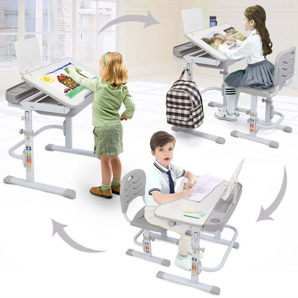 Lifting Table Can Tilt Children Learning Table and Chair Gray with Reading Stand