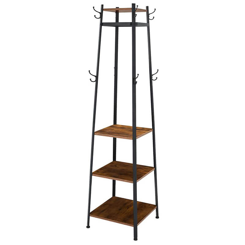 Industial Coat Rack, Coat Stand with 3 Shelves, Hall Trees Free Standing with Hooks and Clothes Rail, Metal Frame