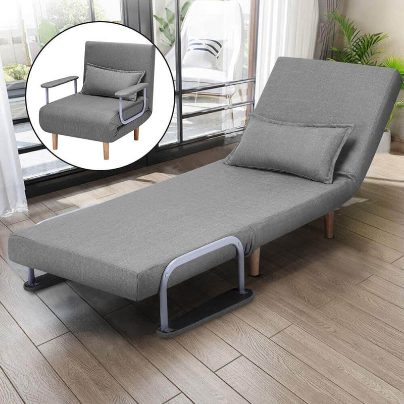 Convertible Chair Bed Sleeper Chair Adjustable 5 Position Backrest Gray Folding Arm Chair